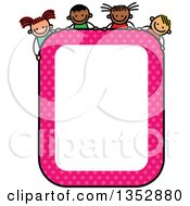 Clipart Of A Doodled Toddler Art Sketched Pink Polka Dot Blank Sign With Children Over It Royalty Free Vector Illustration