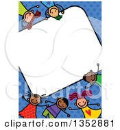 Clipart Of A Doodled Toddler Art Sketched Blank Sign Surrounded By Happy Children Over Blue Polka Dots Royalty Free Vector Illustration