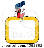 Clipart Of A Doodled Toddler Art Sketched Blue Haired Black Girl Waving And Sitting On A Yellow Polka Dot Blank Sign Royalty Free Vector Illustration