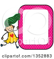 Clipart Of A Doodled Toddler Art Sketched Green Haired White Girl With A Pink Polka Dot Blank Sign Royalty Free Vector Illustration