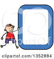 Clipart Of A Doodled Toddler Art Sketched Orange Haired White Boy With A Blue Polka Dot Blank Sign Royalty Free Vector Illustration