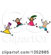 Clipart Of A Doodled Toddler Art Sketched Group Of Happy Children Jumping Joyously Royalty Free Vector Illustration