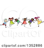 Clipart Of A Doodled Toddler Art Sketched Group Of Happy Children Dancing Royalty Free Vector Illustration