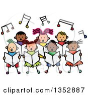Doodled Toddler Art Sketched Group Of Children Singing Under Music Notes