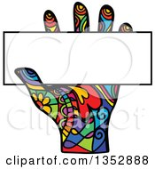 Clipart Of A Colorful Patterned Folk Art Human Hand Holding A Blank Sign Royalty Free Vector Illustration by Prawny