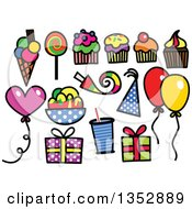 Clipart Of Colorful Sketched Birthday Party Icons Royalty Free Vector Illustration by Prawny
