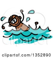 Clipart Of A Doodled Toddler Art Sketched Black Boy Swimming Royalty Free Vector Illustration