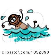 Doodled Toddler Art Sketched Black Boy Swimming