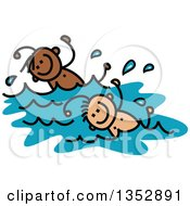 Clipart Of A Doodled Toddler Art Sketched White And Black Boys Swimming Royalty Free Vector Illustration