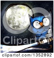 Painted Blue Owl Perched On A Branch Against A Full Moon