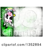 Background Of A Happy Cow Chewing On A Flower Over Distressed Green Polka Dots