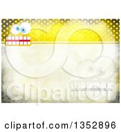 Clipart Of A Background Of Funny Faces Over Yellow Distressed Polka Dots Royalty Free Illustration
