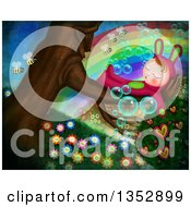 Child In A Bunny Costume Sleeping In A Tree With Bees Flowers Hearts Bubbles And A Rainbow
