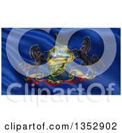 Clipart Of A 3d Rippling State Flag Of Pennsylvania USA Royalty Free Illustration