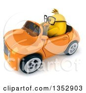 Poster, Art Print Of 3d Bespectacled Chubby Yellow Bird Chicken Driving An Orange Convertible Car On A White Background
