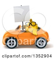 Clipart Of A 3d Bespectacled Chubby Yellow Bird Chicken Holding A Blank Sign And Driving An Orange Convertible Car On A White Background Royalty Free Vector Illustration