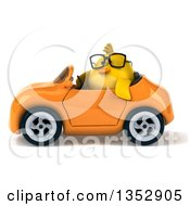 Clipart Of A 3d Bespectacled Chubby Yellow Bird Chicken Driving An Orange Convertible Car On A White Background Royalty Free Vector Illustration