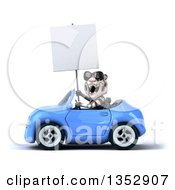 Clipart Of A 3d White Tiger Wearing Sunglasses Holding A Blank Sign And Driving A Blue Convertible Car On A White Background Royalty Free Vector Illustration