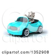 Clipart Of A 3d White Tiger Giving A Thumb Down And Driving A Light Blue Convertible Car On A White Background Royalty Free Vector Illustration by Julos