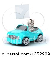 Clipart Of A 3d White Tiger Holding A Blank Sign And Driving A Light Blue Convertible Car On A White Background Royalty Free Vector Illustration by Julos