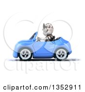 Clipart Of A 3d White Tiger Wearing Sunglasses And Driving A Blue Convertible Car On A White Background Royalty Free Vector Illustration by Julos