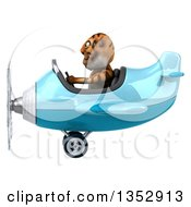 Clipart Of A 3d Tiger Aviatior Pilot Flying A Blue Airplane On A White Background Royalty Free Vector Illustration