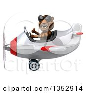 Clipart Of A 3d Tiger Aviatior Pilot Wearing Sunglasses Giving A Thumb Up And Flying A White And Red Airplane On A White Background Royalty Free Vector Illustration