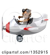 Clipart Of A 3d Tiger Aviatior Pilot Wearing Sunglasses Giving A Thumb Down And Flying A White And Red Airplane On A White Background Royalty Free Vector Illustration