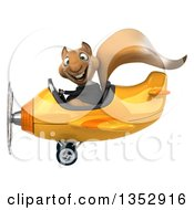 Clipart Of A 3d Business Squirrel Aviatior Pilot Flying A Yellow Airplane On A White Background Royalty Free Vector Illustration