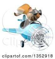 Clipart Of A 3d Business Squirrel Aviatior Pilot Wearing Sunglasses And Flying A Blue Airplane On A White Background Royalty Free Vector Illustration