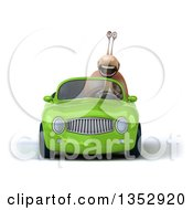 Clipart Of A 3d Snail Driving A Green Convertible Car On A White Background Royalty Free Vector Illustration