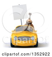 Clipart Of A 3d Snail Holding A Blank Sign And Driving A Yellow Convertible Car On A White Background Royalty Free Vector Illustration by Julos