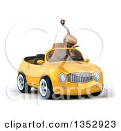 Clipart Of A 3d Snail Pointing And Driving A Yellow Convertible Car On A White Background Royalty Free Vector Illustration by Julos