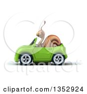 Clipart Of A 3d Snail Driving A Green Convertible Car On A White Background Royalty Free Vector Illustration by Julos