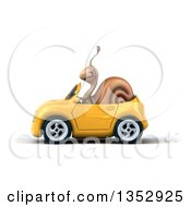 Clipart Of A 3d Snail Driving A Yellow Convertible Car On A White Background Royalty Free Vector Illustration by Julos