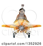 Clipart Of A 3d French Snail Aviatior Pilot Flying A Yellow Airplane On A White Background Royalty Free Vector Illustration