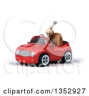 Clipart Of A 3d Snail Pointing And Driving A Red Convertible Car On A White Background Royalty Free Vector Illustration by Julos