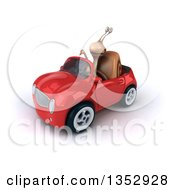 Clipart Of A 3d Snail Giving A Thumb Down And Driving A Red Convertible Car On A White Background Royalty Free Vector Illustration by Julos