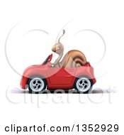 Clipart Of A 3d Snail Driving A Red Convertible Car On A White Background Royalty Free Vector Illustration by Julos
