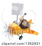 Clipart Of A 3d Snail Aviatior Pilot Holding A Blank Sign And Flying A Yellow Airplane On A White Background Royalty Free Vector Illustration