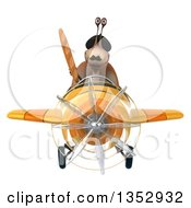 Clipart Of A 3d French Snail Aviatior Pilot Holding Bread And Flying A Yellow Airplane On A White Background Royalty Free Vector Illustration