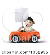 Clipart Of A 3d French Sheep Holding A Blank Sign And Driving An Orange Convertible Car On A White Background Royalty Free Vector Illustration