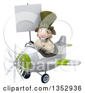 Clipart Of A 3d Irish Sheep Aviatior Pilot Holding A Blank Sign And Flying A Blue Airplane On A White Background Royalty Free Vector Illustration