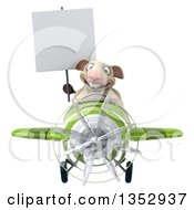 Clipart Of A 3d Sheep Aviatior Pilot Holding A Blank Sign And Flying A Green Airplane On A White Background Royalty Free Vector Illustration