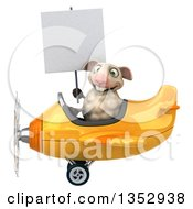 Clipart Of A 3d Sheep Aviatior Pilot Holding A Blank Sign And Flying A Yellow Airplane On A White Background Royalty Free Vector Illustration