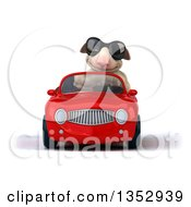 Clipart Of A 3d Sheep Wearing Sunglasses And Driving A Red Convertible Car On A White Background Royalty Free Vector Illustration