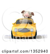 Clipart Of A 3d Sheep Driving A Yellow Convertible Car On A White Background Royalty Free Vector Illustration