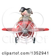 Clipart Of A 3d Sheep Aviatior Pilot Wearing Sunglasses And Flying A Red Airplane On A White Background Royalty Free Vector Illustration by Julos