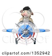 Clipart Of A 3d French Sheep Aviatior Pilot Flying A White Blue And Red Airplane On A White Background Royalty Free Vector Illustration by Julos