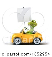Clipart Of A 3d Crocodile Holding A Blank Sign And Driving A Yellow Convertible Car On A White Background Royalty Free Vector Illustration by Julos